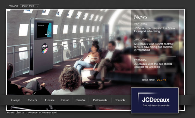 JC Decaux Airport website