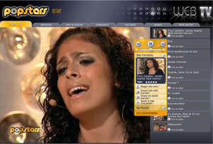 Capture écran de la page videos de popstars.fr